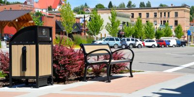 Wishbone Freedom 32 Waste Receptacle and Mountain Classic Park Bench in Rossland BC