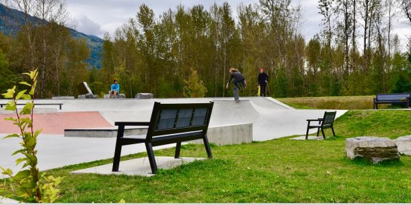 Wishbone Rutherford Benches at the Skateboard Park in Revelstoke BC (1)