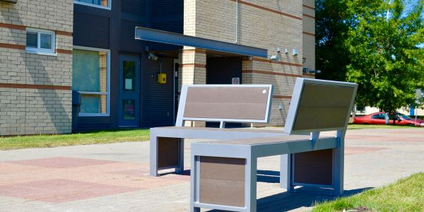 Wishbone Urban Form Benches at Kings University in Edmonton Alberta