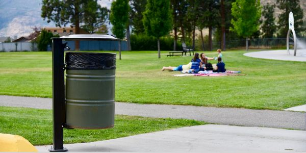 Wishbone Wrap 45 Waste Receptacle at the District of West Kelowna