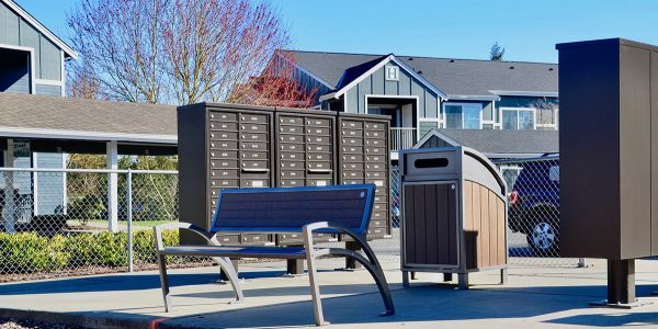Wishbone-Modena-Bench-and-Large-Capacity-Modena-Waste-Receptacle-at-Creekside-Apartment-Homes-in-Stanwood-Washington