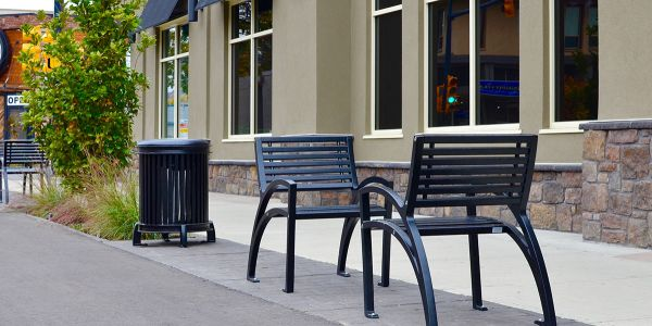 Wishbone-Modena-Single-Seat-All-Metal-Bench-and-Beselt-Waste-Receptacle-at-the-City-of-Vernon-BC