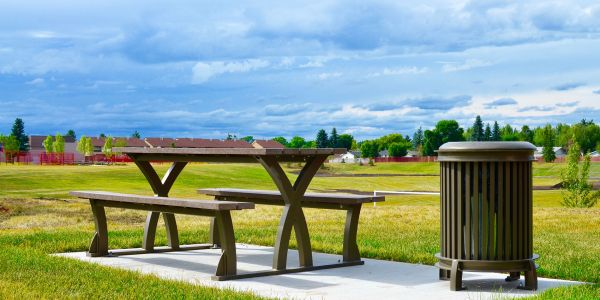 Wishbone-Parker-Picnic-Table-and-Beselt-Waste-Receptace-at-Father-Ivor-Daniel-Park-in-Edmonton-Alberta